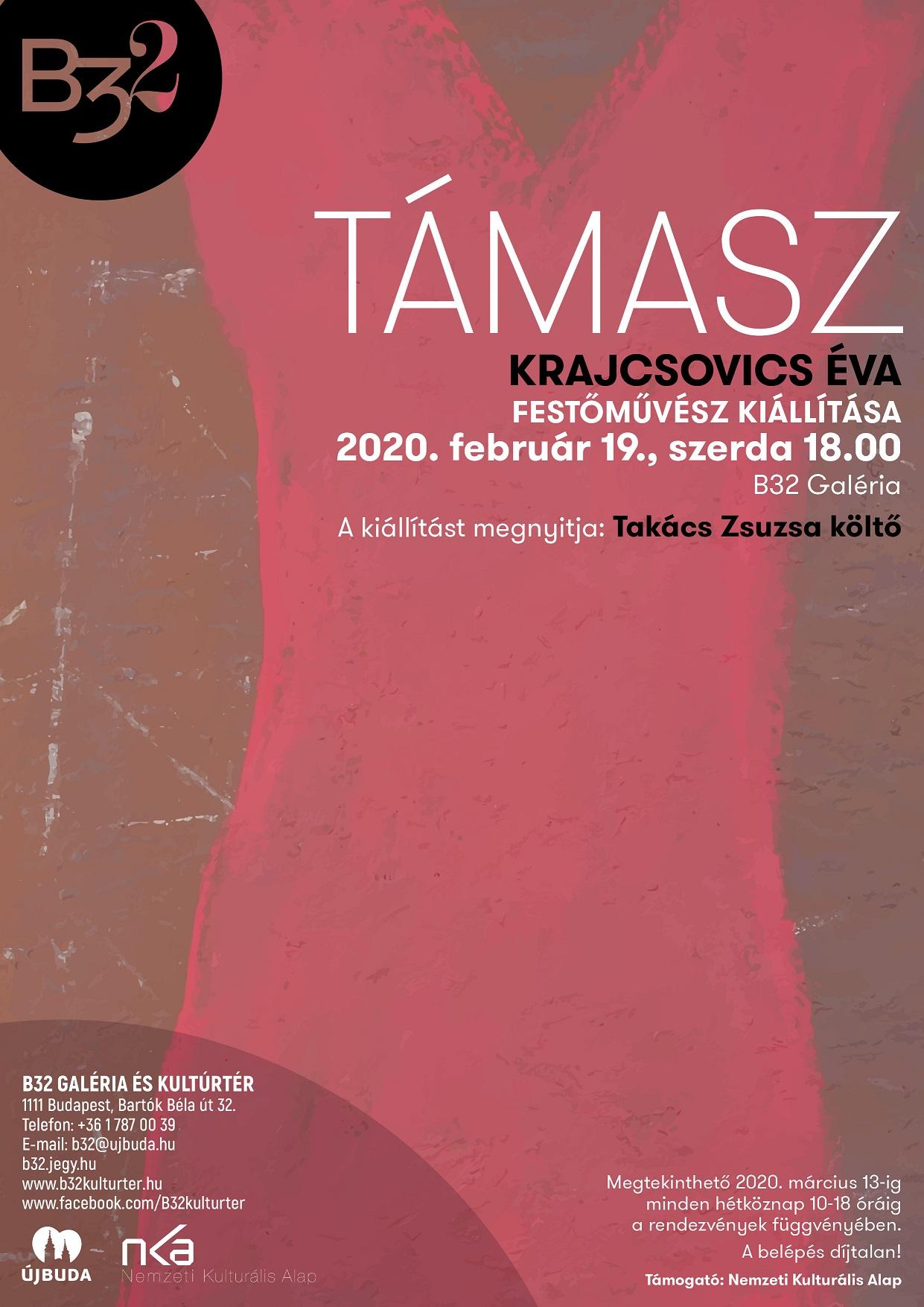 B32 Galéria Krajcsovics Éva kiállítása 2020.02.19 meghívó